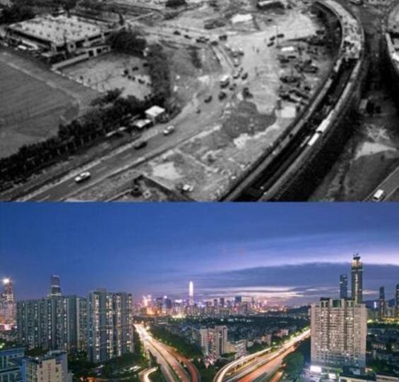 Comparison before and after photo of China economic reform